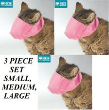 3 pc Groomer Vet Set Cat Muzzle Comfort Lined Quick-Fit Adjustable Training*Pink