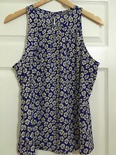 Blue Floral Pattern Sleeveless Blouse, Size 14