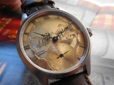 1800s ANTIQUE HAND ENGRAVED SILVER  DIAL POWERED BY SWISS UT ETA 6498 MOVEMENT
