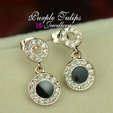 18K Rose Gold Plated Fashion Black Stud Earrings Made With Swarovski Crystals