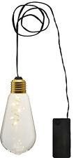 LED Deko Licht Glow 5 LEDs warmweiss Glas hängende Glühbirne mit Batterie