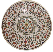 """48"""" White Marble Top Dining Table Inlay Mosaic Outdoor Dining Room Decor H3045A"""