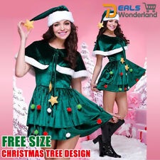 Xmas Ladies Deluxe Santas Helper Fancy Dress Womens Christmas Costume Free Size