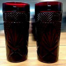 Cristal D Arques Durand Luminarc Ruby Red Tumblers Set Of 2 Mint !!!