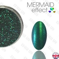 GREEN MERMAID EFFECT NAILS ART POWDER GLITTER DECORATION GEL VARNISH ACRYLIC