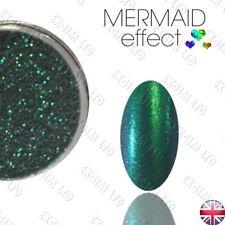 Efecto de Sirena Verde Polvo De Arte Uñas Gel Acrílico híbrido efekt syrenki zieleń