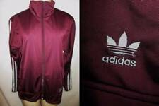 Vintage ADIDAS Burgundy Polyester Track Suit JACKET Gray Triple Stripes L Womens