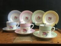 Rosina England Demitasse Cup Saucer Roses Bone China Blue, Green, Pink or Yellow