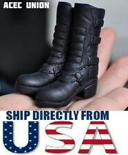 KUMIK FS-14 1/6 Scale Black Widow Catwoman Riding Boots BLACK - U.S.A. SELLER