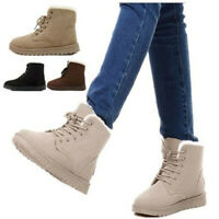 US Womens Ankle Boots Snow Short Shoes Winter Warm Casual Suede Fur Lace-up