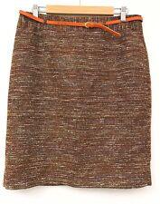 Laura Ashley Skirt 14 Orange Brown Smart Office Work Belt Autumn Winter
