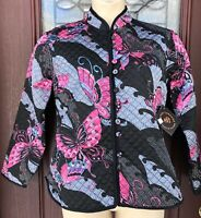 NWT Sacred Threads Lightweight Butterfly Quilted Kimono Jacket Satin Reversible