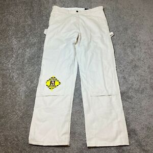 Dickies Double Knee Work Pants 34x32 Cream Relaxed Fit Utility Pants Pockets