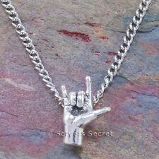 925 sterling silver I LOVE YOU HAND SIGN LANGUAGE Slide ASL Pendant & Necklace