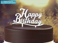 """Happy Birthday"" - White - Birthday Cake Topper  - Made by OriginalCakeToppers"