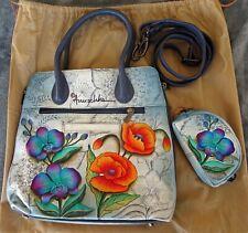 Anuschka Floral Leather Purse Medium Tote Side Zippers + Coin Purse