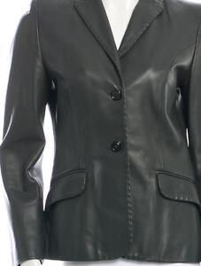$2145 New Piazza Sempione Dark Grey Coat JACKET BLAZER Leather 40 42 44 46 48