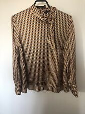 🌈 Beautiful Silky Zara Gold Blue Checked Shirt Tie Neck Button Back Size M