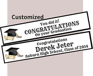 Personalised Class Congrats Graduation Party Cap Gown Decoration Canvas Banner