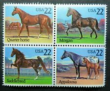 2155 - 2158 MNH 1984 20c Horses B4 Horse Breeds Morgan Saddlebred Appaloosa