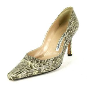MANOLO BLAHNIK Ivory Ombre Ring Lizard Skin Heels Pumps 37.5