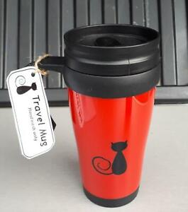 Useful Lidded / Travel Mug, NEW , Red With black cat