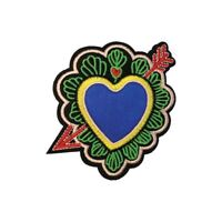Colourful Heart Arrow Flower (Iron on) Embroidery Applique Patch Sew Iron Badge