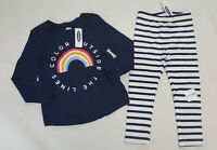 NWT Old Navy Girls 18 24 Month 2t 3t or 4t Blue Rainbow Top & Striped Leggings