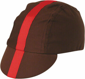 Pace Sportswear Classic Cycling Cap: Chocolate with Red Tape MD/LG