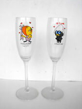 RARE CALIMERO Lot of 2 CHAMPAGNE Glasses MINT IN BOX FRANCE 2002