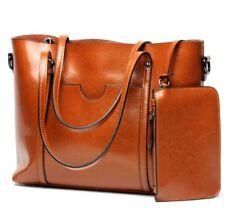 New Women's Genuine Real Cow Leather Messenger Shoulder Bag Handbag +Coins bag