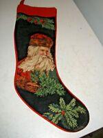 Needlepoint Embroidered Stocking Christmas Imperial Elegance Vintage Santa 1991