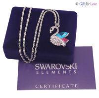 Collana donna oro bianco Swarovski Element originale G4Love cristalli cigno swan
