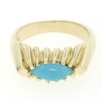 Vintage 14k Gold Ribbed Marquise Cabochon Robin Egg Turquoise Solitaire Ring Sz4