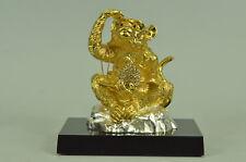 Saggio Scimmia Scultura in Bronzo Statuina Figura Decoro in Oro e Argento T