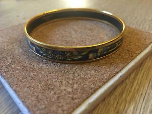 HERMÈS Gold plated Narrow Printed Enamel Bangle Bracelet Vintage