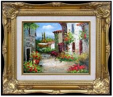 Framed, Tuscany Villas Italy - 1,  Quality Hand Painted Oil Painting, 8x10in