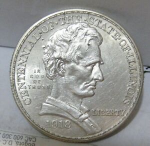 1918  Abraham Lincoln Half Dollar Commemorative (Beautiful Coin) (CLEANED)