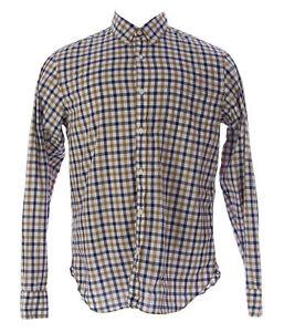 ETIQUETA NEGRA Men's Gold Beige Checkered Button-Up Shirt ENH357