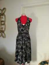 MAGGY LONDON LINEN & RAYON BLACK AND WHITE SWIRL PRINT HALTER DRESS SIZE 4