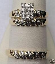 His Her Men Womens Real Diamond Rings Trio Bridal Set Wedding 10k Yellow Gold