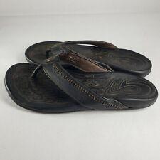 Olukai Hiapo 12 Mens 10101-4040 Black & Brown Leather Slippers Flip Flops Shoes