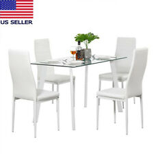 5pcs Dining Table Set 4 Chairs for Office Lounge Dining Kitchen Furniture White