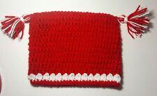 New listing Handmade Crochet Beanie Nwt Squared Tassels Red White Holiday Christmas Gift