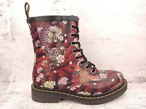 DR. MARTENS Cherry Blossom Koi Fish Japanese Rubber Ankle Boot Size 7 EUR 38
