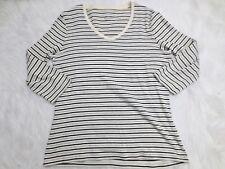 St Johns Bay Shirt Medium Ivory Black Stripe 3/4 Sleeve V Neck Casual Womens