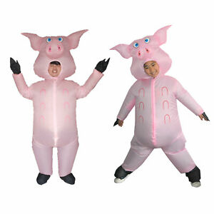 Inflatable Pig Costume Adults Kid Halloween Birthday Cosplay Carnival Funny Suit