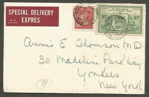 1950 Special Delivery Cover 14c #E11 CDS Toronto Stn F Ont to USA