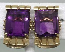 RETRO AMETHYST 14K GOLD EARRINGS (J829)