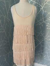 Topshop Nude Flapper 1920s Gatsby Charleston Tassle Fringe Dress Size 10